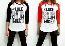 UNISEX 5Sos SOS 5 Seconds of Summer Name Luke Men Women 3/4 Long Sleeve T Shirt