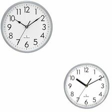 "RADIO CONTROLLED WALL CLOCK 9"" 10"" LARGE SILVER 230mm 250mm AUTOSET CLOCKS"