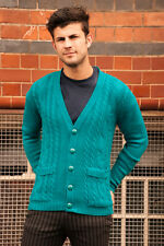 MENS INDIE 70's 80's RETRO MOD NEW VINTAGE STYLE JADE GREEN CABLE CARDIGAN