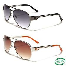 New Black Aviator Vintage Retro Mens Ladies Unisex Metal Khan Sunglasses UV400