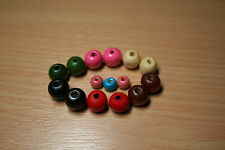 100x12mm & 200x8mm Wooden Round Beads Colour Choice