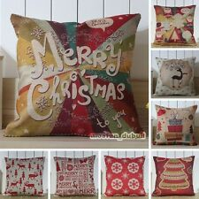 Red Color Theme Merry Christmas Gift Retro Linen Throw Cushion Cover Pillow Case