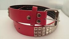"BELT - RED - SILVER PYRAMID STUDDED LEATHER SNAP BUCKLE 3-ROW-""S""-30/32"" - NEW"