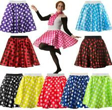 LADIES POLKA DOT SKIRT & SCARF ROCK & ROLL 50'S FANCY DRESS HEN PARTY GREASE