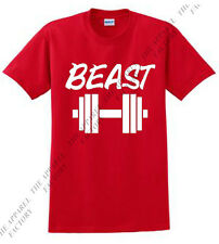 Men's BEAST Dumbell Red T Shirt gym workout exercise bodybuilding crossfit