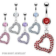 14G 3/8'' SURGICAL STEEL CZ BELLY NAVEL RING MULTI GEM PAVED HEART DANGLE