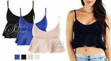 Womens New Peplum Frill Bralet Crop Top Mini Shop Frilly Strappy Tee Cropped