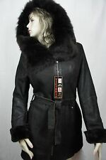 NEW BROWN 100% REAL SHEARLING LEATHER TOSCANA FUR HOOD BROWN COAT JACKET XS-6X