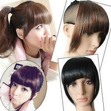 Women's False Bangs Neat Fringe Hairpiece Clip in on Hair Extensions Accessories