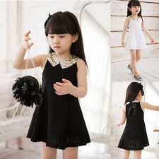 Chase Fashion Girl Kids Party White/Black Lace Bow Short Prom Dress Size 3-8Year