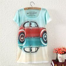 Vintage Womens Short Sleeve Contrast Car Graphic Printed T Shirt Tee Blouse Tops