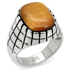 Men's Big Oval Shape Semi-Precious Tiger's Eye Stainless Steel Ring  SIZE 8 - 13