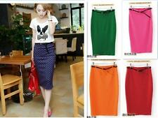 TI US  Fashion Women High Waisted Belted Stretch  Knee Length Pencil Skirt