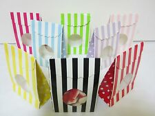 12x Striped Lolly Candy BAGS Box Party Favours Loot Lolly Party Bag with Window
