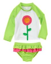 NWT Gymboree Skirted Ruffled Flower Rash Guard Swimsuit Set NEW Floral Rashguard