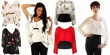 New Womens Celebrity Chiffon Butterfly Batwing Ladies Size Girls Top 8 10 12 14
