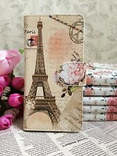 2Colors Flower eiffel tower Pu leather Whole cover case For HTC Nokia phones