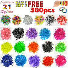 300PCS COLOURFUL RAINBOW RUBBER LOOM BANDS BRACELET DIY MAKING SET WITH S-CLIPS