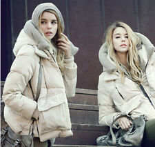 Womens Down Jackets white eiderdown hooded thick long sleeved coat