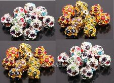 20pcs 10mm Silver/Golden Plated Rhinestone Crystal Rondelle Spacer Beads