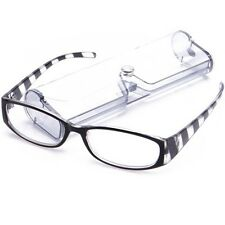 Eye-Zoom Black & Clear Stripes Color Striped Hipster Reading Glasses w/ PVC Case