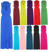 LADIES WOMEN SPRING COIL MAXI JERSEY DRESS LADIES SLEEVELESS STRETCH MAXI DRESS