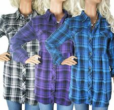 WOMENS CHECKED SHIRTS SIZE 10 - 14 LADIES PURPLE /blue COTTON LONG SLEEVE