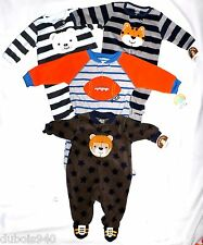 NWT Boys sz 0-3,3-6,6-9,12,18 Mo,3T Carter Teddy 1 Pc Fleece Footy/Shoe Pajamas!