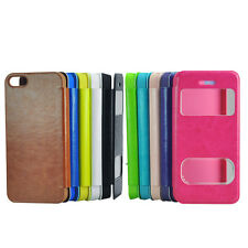 Slim Flip Pu Leather Windows View Stand Case Cover for Apple iphone 4 4S 5 5C 5S