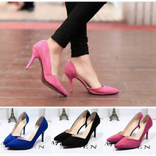 Women's Lady High Heel Pointed Toe Pump Shallow Mouth Shoes Stiletto Black Blue