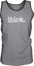 Think (White) Mens Contrast Singlet Tank-Top T-Shirt