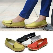 Womens Padded Leather Comfy Casual Walking Bowed Loafers Moccasin Flat Shoes New