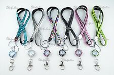 Rhinestone LANYARD with 5mm Crystal Watch for ID Badge Holder