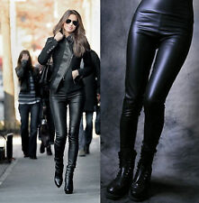 LADIES SEXY BLACK FAUX LEATHER LEGGINGS WET PVC LOOK HIGH WAISTED SIZE S-XXL