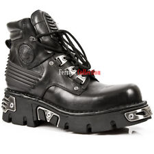 NEWROCK New Rock 924 Metallic Mens Black Gothic boot Leather Boots