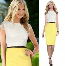 Womens Summer Colorblock Lace bodycon Wear To Work Cocktail Party Pencil Dress