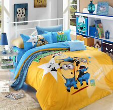 New 2014 Despicable Me Gru Minions Bedding Set 4pc Queen King Yellow Size RARE