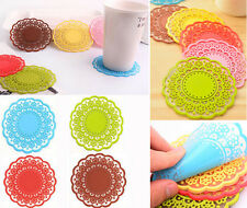 New Fashion Silicon Lace Round Coffee Drink Cup Mat Coasters 6 Colors