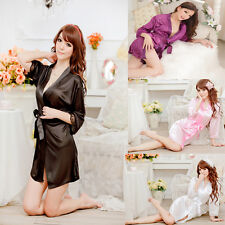 Hot Sexy Women Silk Robe Lingerie G-string Dressing Nightgown Sleepwear Bathrobe