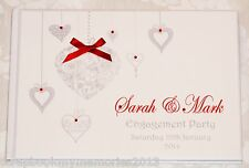 LOVE HEARTS ENGAGEMENT ANNIVERSARY Personalised Photo Album Guest Book & Box