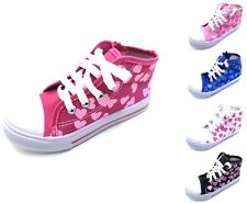 GIRLS PUMPS CANVAS TRAINERS HI TOP BOOTS BRAND NEW #709