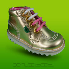 Kickers Original Kick Hi Zippy High Ankle Boots Lace Up Leather Toddlers Infants