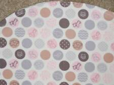 BASSINET SHEET/ FLANNEL / GREY BROWN & PINK OR BLUE POLKA DOTS WITH SM ANIMALS