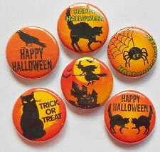 "Orange and Black Halloween Flatback - Pin Back Buttons 1"" Embellishments"