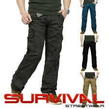 NEW MENS CARGO ARMY MILITARY STRAIGHT LEG COTTON PANTS CASUAL SIZE 30 32 34 36