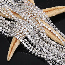 Clear Crystal Glass Rhinestone Compact Close Silver Chain Trims Applique