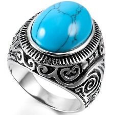 Vintage Mens Titanium Oval Turquoise Stainless Steel Antique Ring US Size 8-15