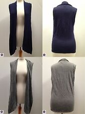 "BNWT ""BHS"" Knitted Sleeveless Cardigan Navy Blue Grey  RRP £25  Petite Long"