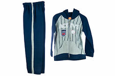 BNWT ACTIVE BOYS TRACKSUIT HOODED JACKET WITH BADGE & PANTS NAVY OR GREY 4-13YR