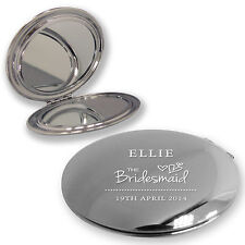 Personalised engraved WEDDING compact mirror - BRIDESMAID, MOTHER BRIDE & GROOM